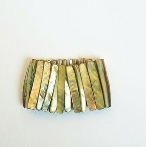 Abalone Shell Boho Yellow Stretch Statement Cuff